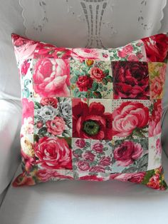 All Rose fabric- lovely. Shabby Chic Cushions, Vintage Cushions, Handmade Cushions, Patchwork Cushion, Quilted Pillow, Patch Quilt, Quilt Blocks, Sewing Crafts, Sewing Projects