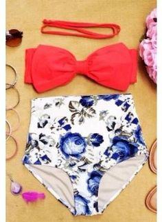94644d1b3d forget me not high waist vintage inspired bow bikini