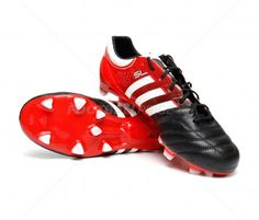 this is a color black and red, number twenty seven trainers. the trainers has three lines white, lace black and wedge the futball soccer. it has a price of thirty five puond and seven pence. Adidas Soccer Boots, Football Shoes, Soccer Shoes, Adidas Sneakers, Trx, Black Laces, White Lace, The Twenties, Cleats