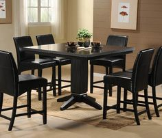 Homelegance Papario 7 Piece Counter Dining Room Set in Black - traditional - Furniture - Beyond Stores
