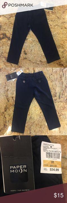 Navy Blue boy toddler pants. Size 3💫 Navy Blue boy pants. 95% cotton-super soft.  Brand: Paper Moon. Size: 3.💫 Paper Moon Bottoms