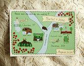 wedding map - custom save the date or invitation. $175.00, via Etsy.