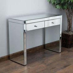 Christopher Knight Home Roxie Mirrored Two Drawer Console Table