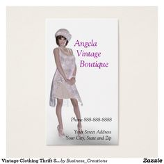 Vintage Clothing Thrift Shop Boutique Business Business Card Zazzle Com In 2021 Vintage Outfits Boutique Layout Thrifting