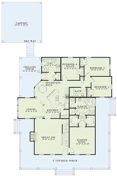 Oooh, liking this floor plan, with 2nd level. House Plans And More, New House Plans, House Plans One Story, Dream House Plans, Small House Plans, 4 Bedroom House Plans, Floor Plan 4 Bedroom, Country Style House Plans, Story House