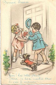 Bonne Année - Hum ! Les belles fleurs! - Dame... je les ai cueillies dans le vase d'maman!...