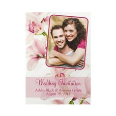 Upload your own photo to this elegant floral wedding invitation