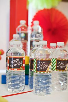 FREE PRINTABLE DRINK LABELS for water bottles at a Back To School Party via Kara's Party Ideas