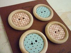 Wood and Paper Buttons - Autumn Colours Collection - Handmade - 35mm