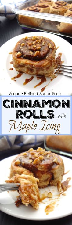 You'll love these vegan cinnamon rolls with maple icing!  They're super soft, fluffy and free of refined sugar, dairy and eggs! Enjoy these sweet, decadent, ready in about an hour, homemade cinnamon rolls for breakfast this weekend! #vegan #veganbreakfast #vegancinnamonrolls