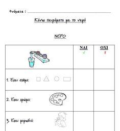Μερικά πειράματα που μπορούν να κάνουν τα παιδιά σε μικρές ομάδες. Το μόνο που χρειάζεται είναι διάφορα δοχεία και υλικά. Στα παρακάτω φύλ... Science Projects, Science And Nature, Map, Education, Creative, Blog, Nursery, Water, Gripe Water