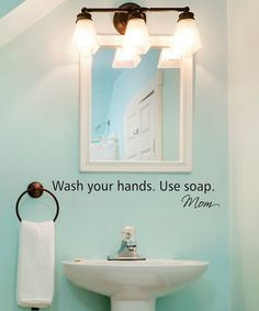 Take a look at this Belvedere Designs Black 'Wash Your Hands' Wall Quote by Perfect Presents: Home Décor on today! Mint Bathroom, Bathroom Kids, Bathrooms Decor, Downstairs Bathroom, Kids Bath, Bathroom Remodeling, Remodeling Ideas, Living At Home, Wall Quotes