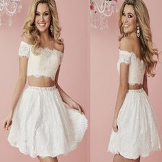 95f90e7b280 white lace two pieces off shoulder simple tight freshman homecoming prom  dress