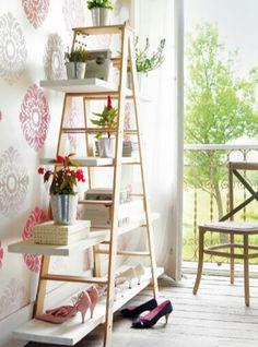 Decoracion vintage. Escalera para mantas, en el baño toallas, en el dormitorio zapatero....y mil usos mas!