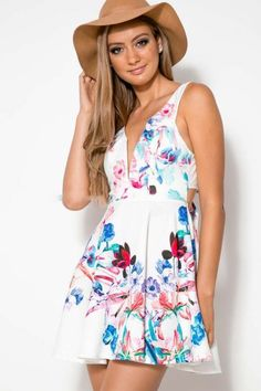 Fashion printed sleeveless Bow dress