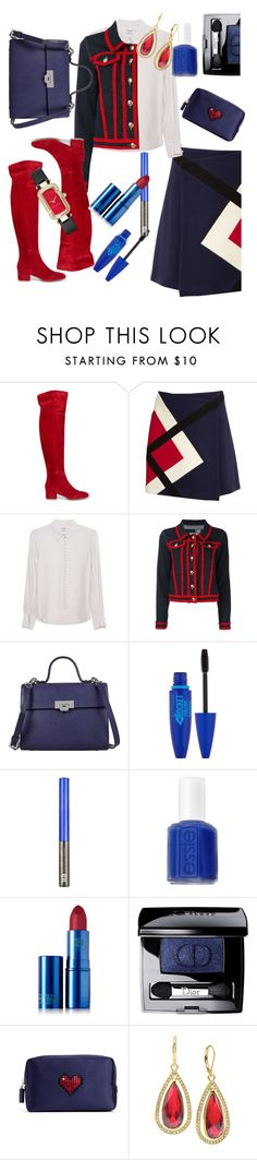 """""""Untitled #939"""" by lisacom ❤ liked on Polyvore featuring Gianvito Rossi, MSGM, Frame Denim, Love Moschino, Lodis, Maybelline, Essie, Lipstick Queen, Christian Dior and Anya Hindmarch"""
