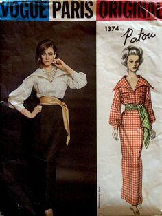 1960 Vintage Vogue Paris PATOU Dress Skirt Wing Collar Blouse Sash Pattern #1374