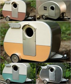 """handmade vintage style (airstream)bird houses from etsy store """"strictly for the birds"""" are super cute"""