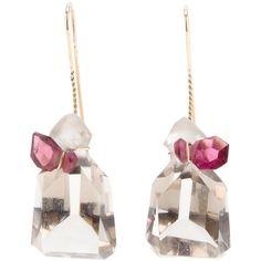 Uzerai Edits Quartz & Tourmaline Drop Earrings ($1,512) ❤ liked on Polyvore featuring jewelry, earrings, metallic, quartz jewelry, metallic jewelry, quartz earrings, drop earrings and tourmaline jewelry