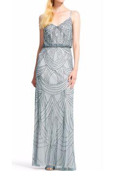 Adrianna Papell Blue Mist Art Deco Beaded Blouson Gown Dress