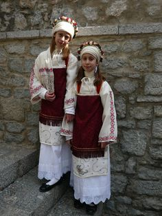 This photo from Hios, North Aegean is titled 'twins'. Greek Traditional Dress, Traditional Outfits, Mykonos, Dance Costumes, Greek Costumes, Chios Greece, Greek Culture, Folk Costume, Good Old