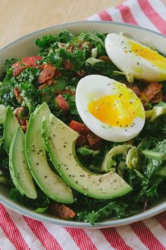 BLT Breakfast Salad With Soft Boiled Eggs  Avocado