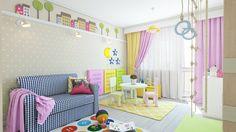 einrichtungsideen kinderzimmer sofa bereiche lila gardinen
