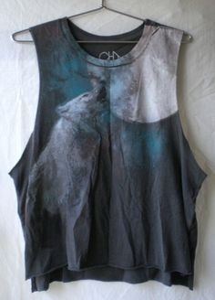 Chaser howling wolf tank top moon sky galaxy painted print t-shirt cut-off raw edge gray diy style