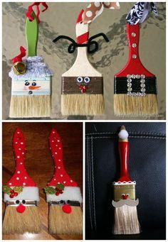 DIY Paint Brush Santa Ornaments by Pato Garabato Noel Christmas, Christmas Crafts For Kids, Homemade Christmas, Christmas Projects, Holiday Crafts, Holiday Fun, Christmas Gifts, Christmas Ideas, Santa Ornaments