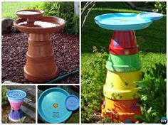 DIY Stacked Clay Pot Bird Feeder Instructions