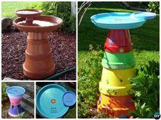 DIY Stacked Clay Pot Bird Feeder Instructions