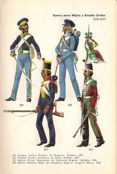 Top USA; 1st Dragoon, Dragoon 1847 & Line Infantry, Soldier, 1847. Bottom Mexico 1st Regular Infantry Regt. Soldier,1846 & 7th Regular Cavalry Regt, Sergeant-Major 1846.