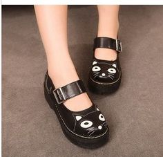 Aliexpress.com : Buy Fashion vintage big round toe leather small flats fashion preppy style shoes cat shoes from Reliable shoes women shoes ...