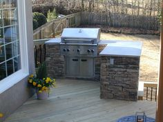 outdoor grills built in plans Outdoor Kitchen on Deck - Outdoor Kitchens Photo Gallery - Archadeck . Small Outdoor Kitchens, Outdoor Kitchen Plans, Outdoor Kitchen Countertops, Backyard Kitchen, Outdoor Kitchen Design, Patio Design, Backyard Patio, Backyard Barbeque, Small Patio
