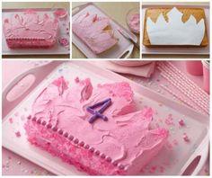 Gâteau couronne de princesse à partir d'un gâteau rectangulaire