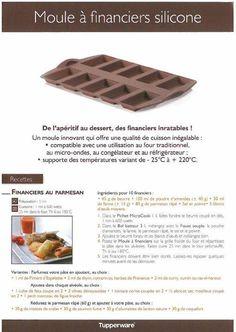 Fiche recette Moule à financiers - Tupperware 1/2 : Financiers au parmesan