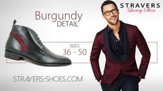 Halfhigh shoes for men with a burgundy detail. In small and large shoe sizes 36 - 50  Get yours here: https://stravers.shoes