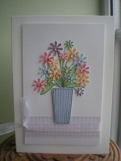 Daisies in a vase Sympathy Cards, Greeting Cards, Bosses Day Cards, Punch Art Cards, Bee Cards, Craft Cards, Embossed Cards, Get Well Cards, Making Cards