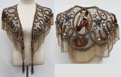 Beaded Sequence Shawl with Fringe Netted Horse Lucky Horse shoes Stars Motif SHARMARK VEGAS 1994 Showgirl Festival Formal Womens Wear