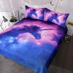 Covered in stars and hazy, purple clouds, transport yourself (or your child) into another dimension with this mystical Purple Galaxy Unicorn Duvet Set. Made from high-quality microfiber fabric, its soft, breathable and incorporates a vivid, non-toxic reactive heat print that is fade, shrink and wrinkle resistant. Each bedding set includes a zippered, microfiber unicorn duvet cover and two matching pillow cases. Just add comforter and pillows. COMFORTER / DUVET INSERT NOT INCLUDED *** Galaxy…