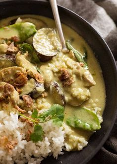 Close up of spoon scooping up Thai Green Curry with chicken served over rice Green Curry Chicken, Coconut Curry Chicken, Thai Chicken, Green Curry Sauce, Asian Recipes, Healthy Recipes, Ethnic Recipes, Turkish Recipes, Healthy Food