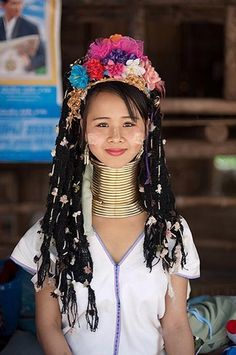 //Girl from Padaung Tribe, Burma - still practicing the neck bracelet ideal of beauty, abnormally elongating the neck for tribal status. #world #faces #culture