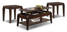 Accent and Occasional Furniture - Docila Lift-Top Coffee Table & Two End Tables Set