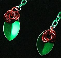Earrings chain maille flowers, scale mail leaves
