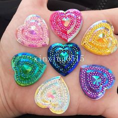 $0.99 - Diy 6Pcs 25Mm Ab Resin Heart Flatback Rhinestone Craft/Wedding 2 Hole Buttons #ebay #Home & Garden Rhinestone Crafts, Craft Wedding, Flower Shape, Embellishments, Resin, Crochet Earrings, Abs, Diy Crafts, Shapes
