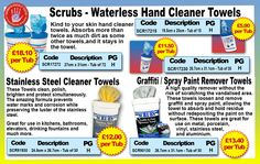 Scrubs- Waterless Hand Cleaner Towels, Multiple uses for all your needs! www.directa.co.uk
