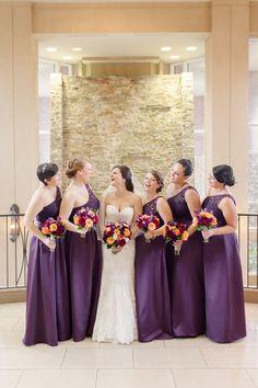 Elegant purple bridesmaid dresses. Long Illusion Lace and Satin Bridesmaid Dress in Lapis, Style F18058 from David's Bridal. MacDonald 2. Bridal Photo: Anna Grace Photography