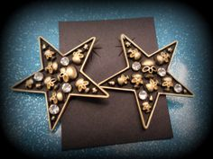 skull star earrings punk, goth, alternative,retro, psychobilly jewelry,pin up,