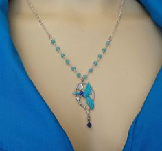 Hummingbird Jewelry - Hummingbird Necklace - Aqua Blue Crystal Beads, Genuine Sapphire Bead -Silver Hummingbird Necklace Blue Nature Jewelry