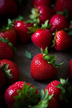 strawberries . red and green ✿